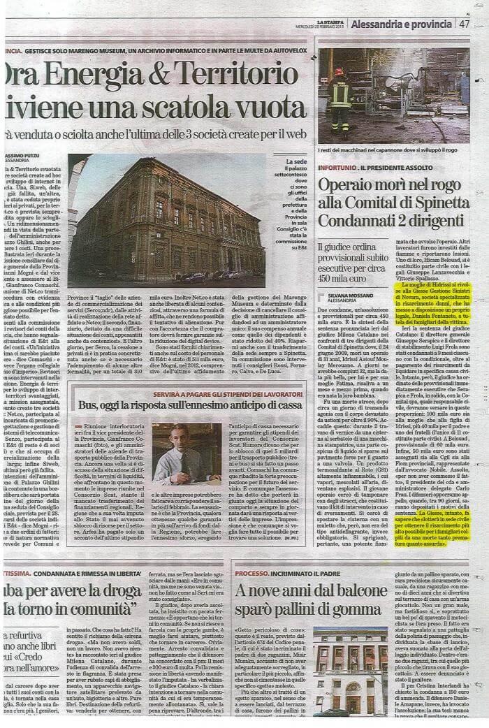 Articolo di giornale Idrissi