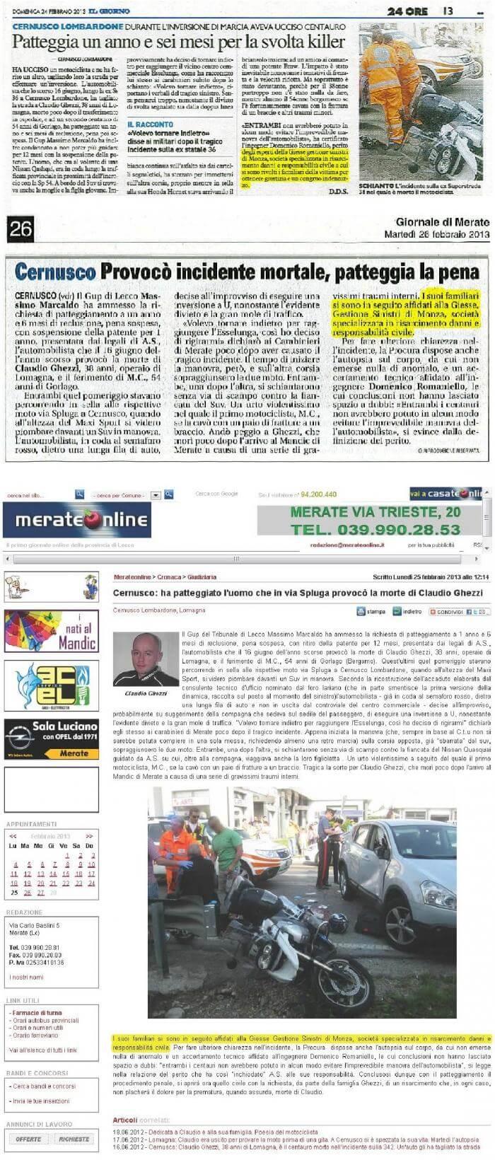 Articolo di giornale Ghezzi