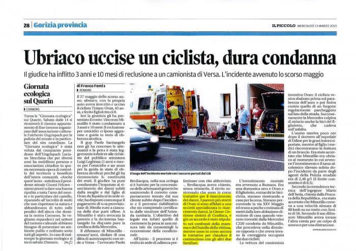 Articolo di giornale Ubriaco uccide un ciclista