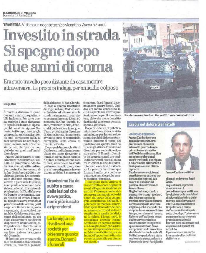 Articolo di giornale Investito in Strada
