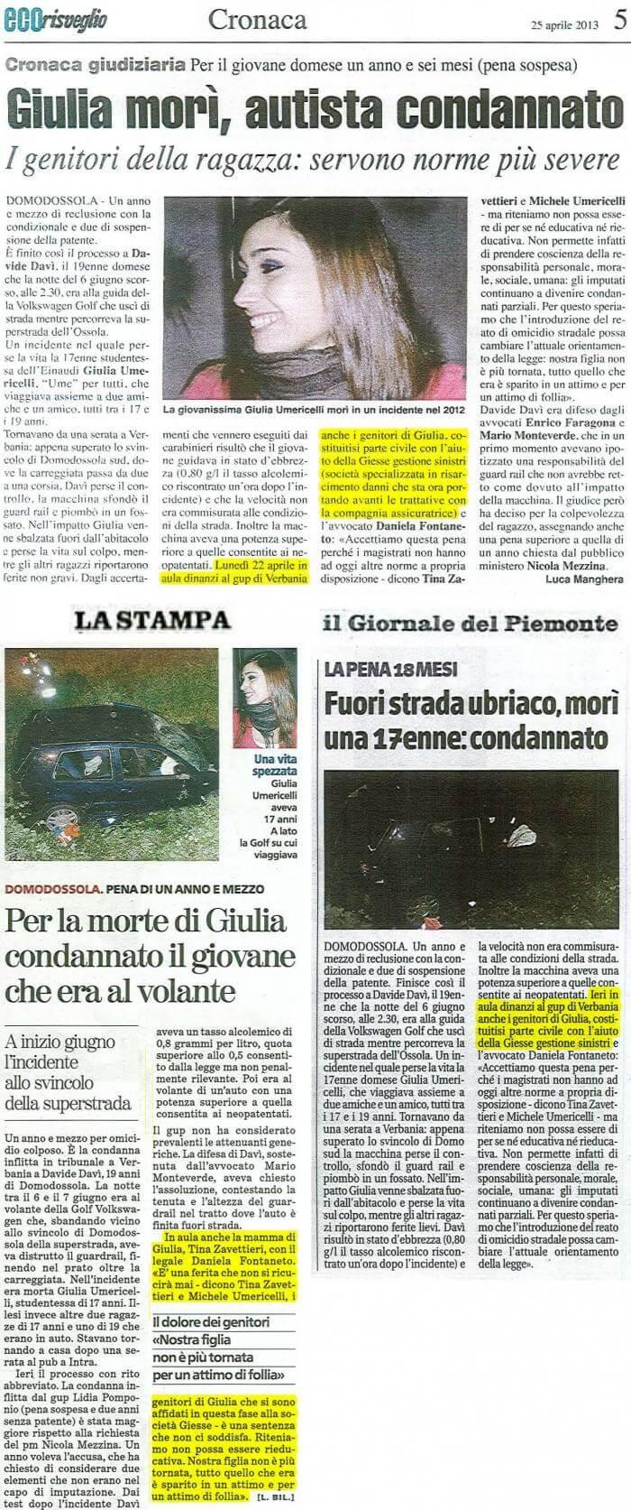 Articolo di giornale Giulia