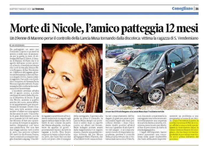 Articolo di giornale Nicole