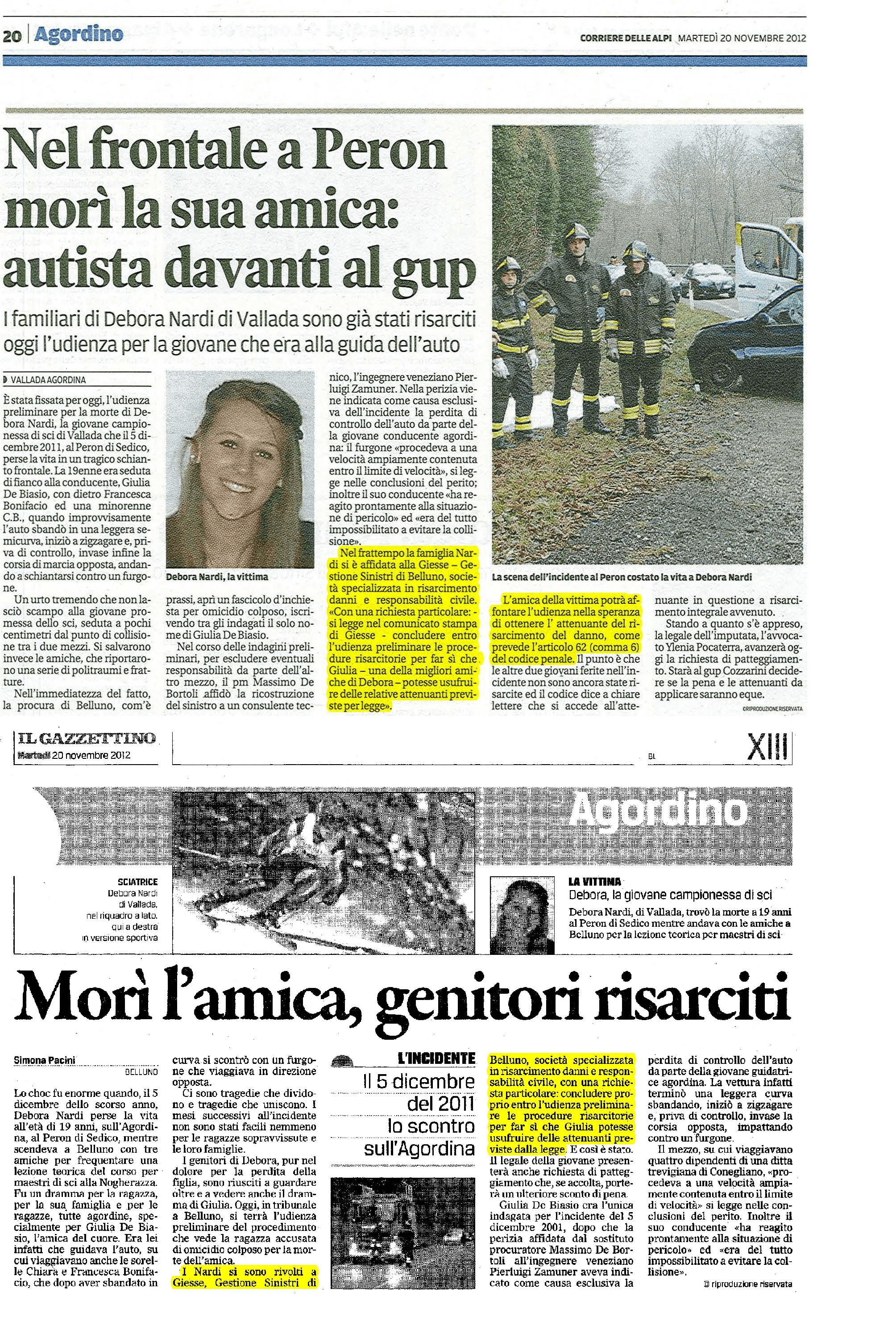 Articoli-Corriere-delle-Alpi e-Gazzettino-Debora-Nardi