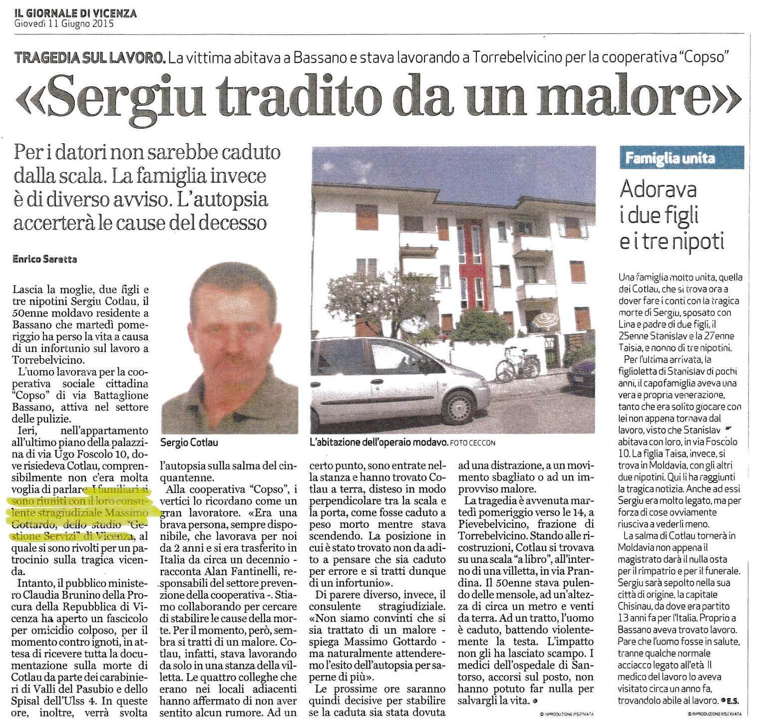 infortunio mortale Sergiu Cotlau