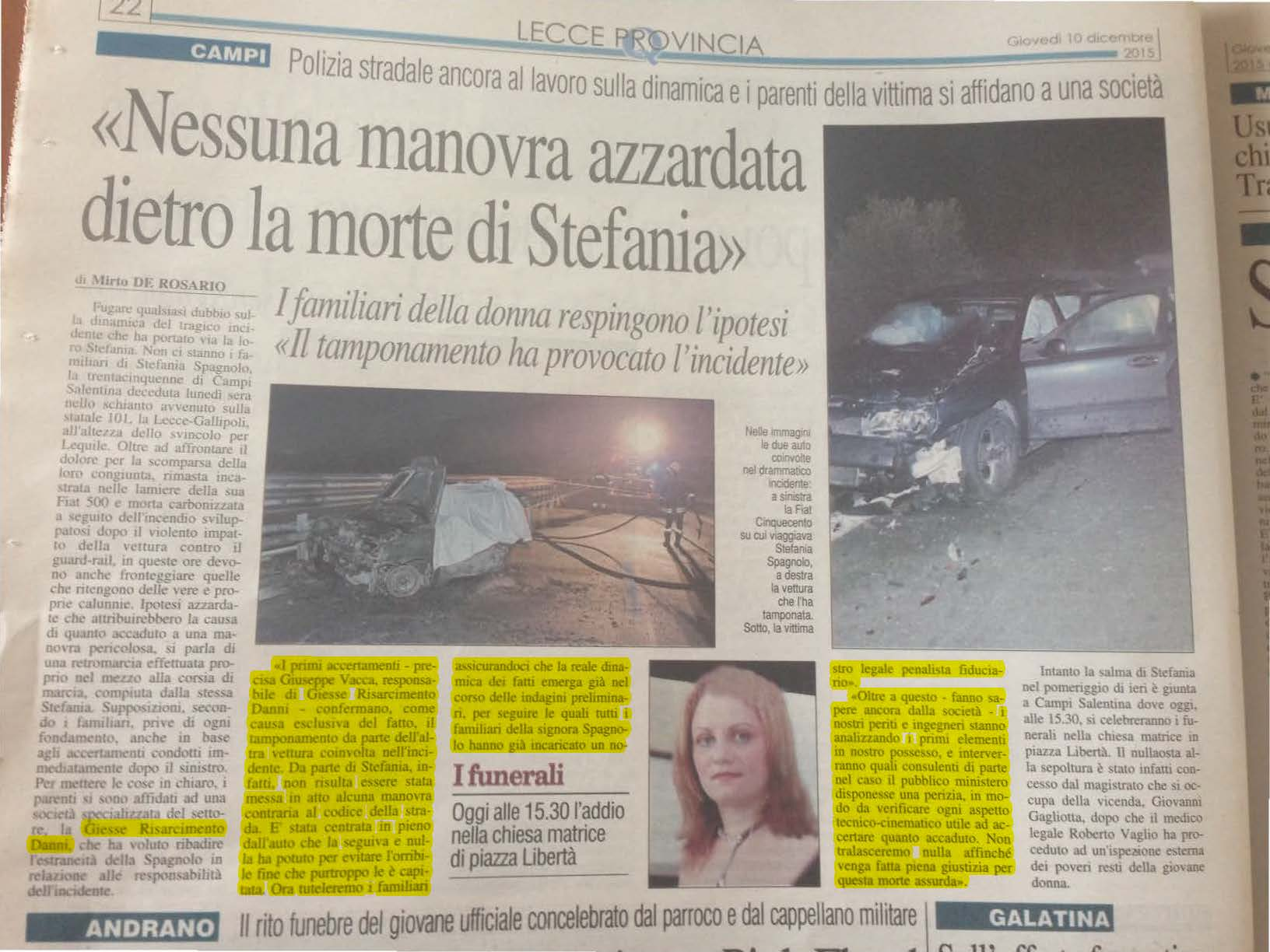 Risarcimento-Incidente-Stafania-giesse
