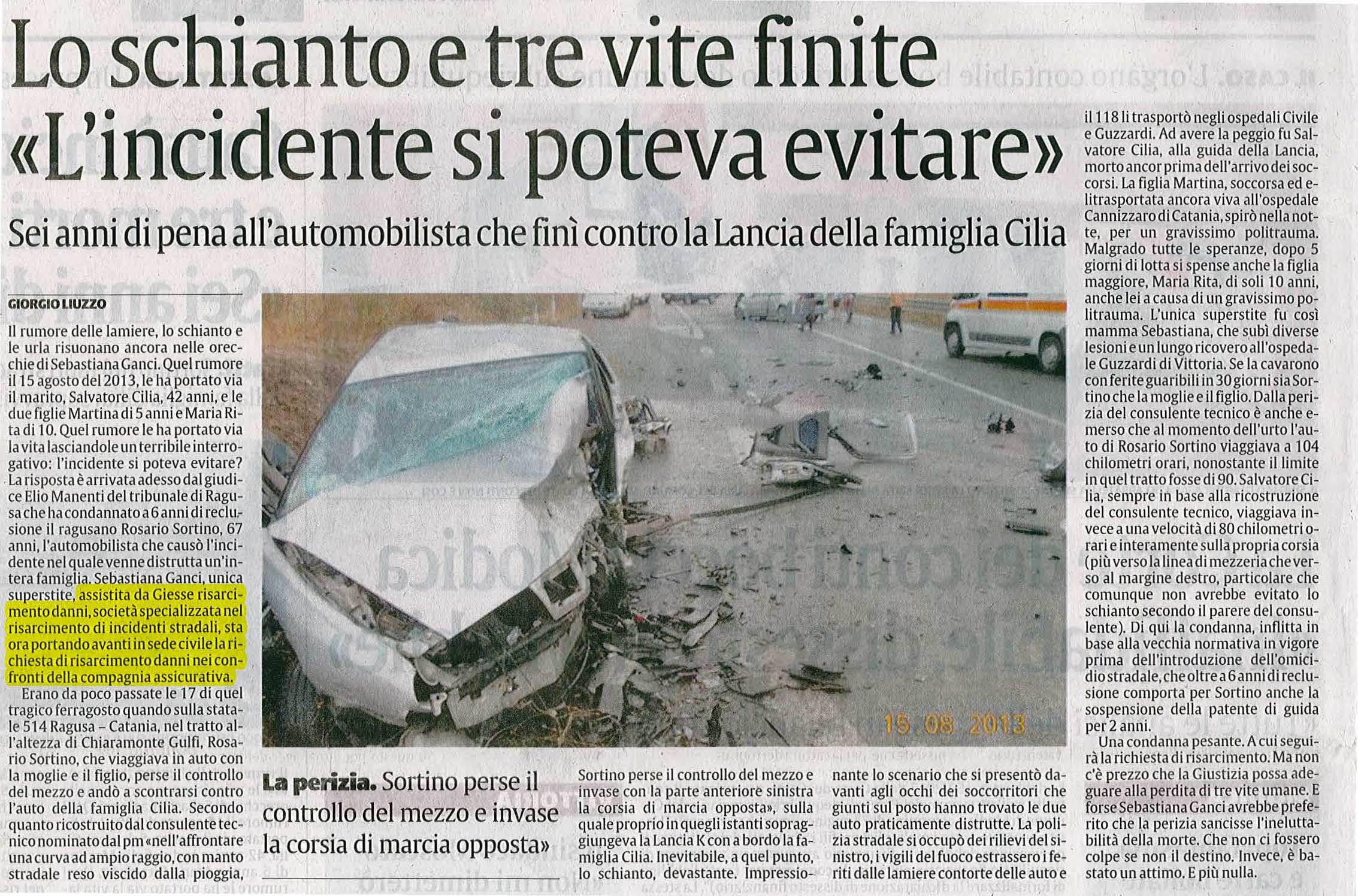 Quotidiano incidente stradale Ragusa Catania risarcimento danni Giesse