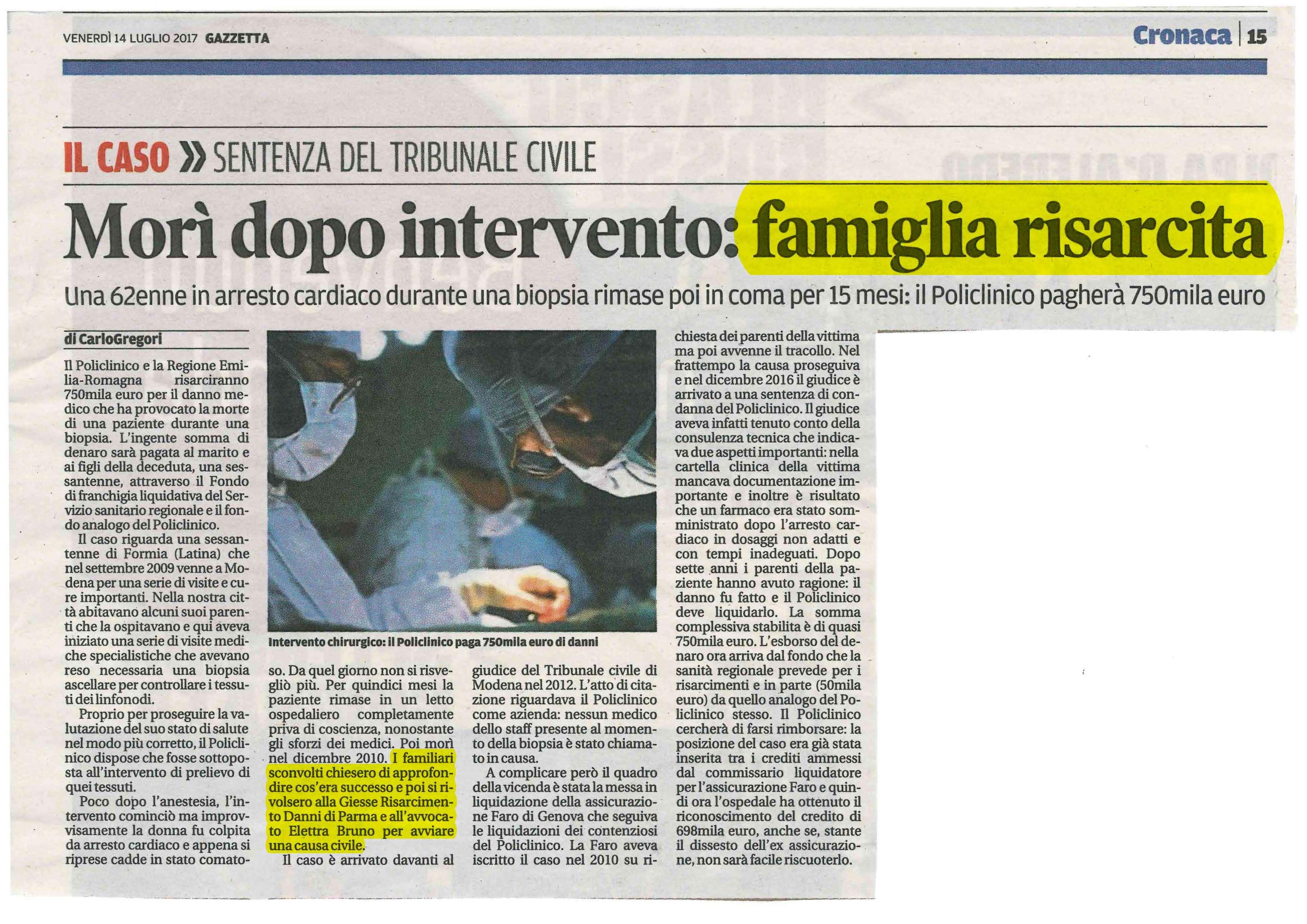 Quotidiano Risarcimento errore medico Modena