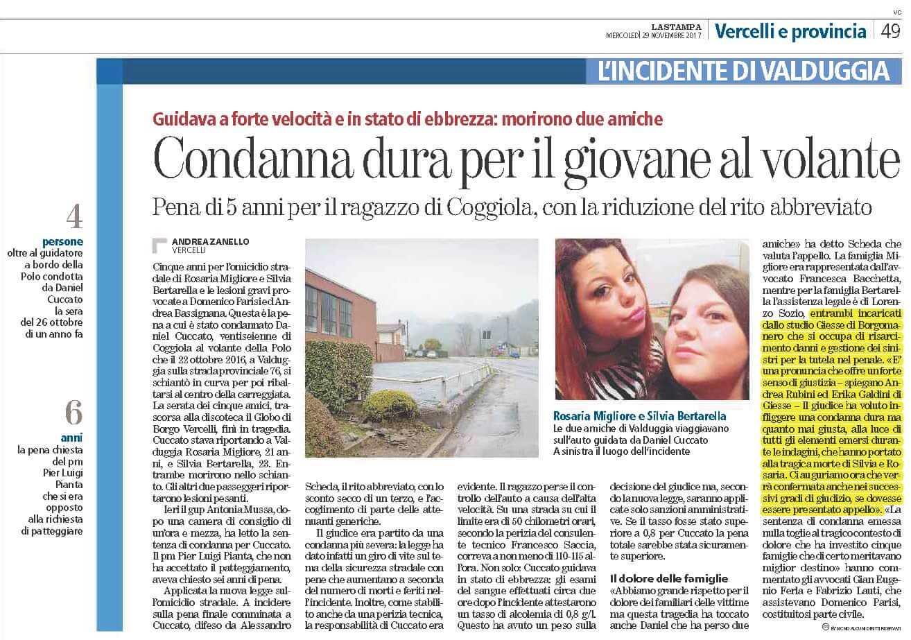 Incidente stradale Vercelli Giesse Risarcimento Danni