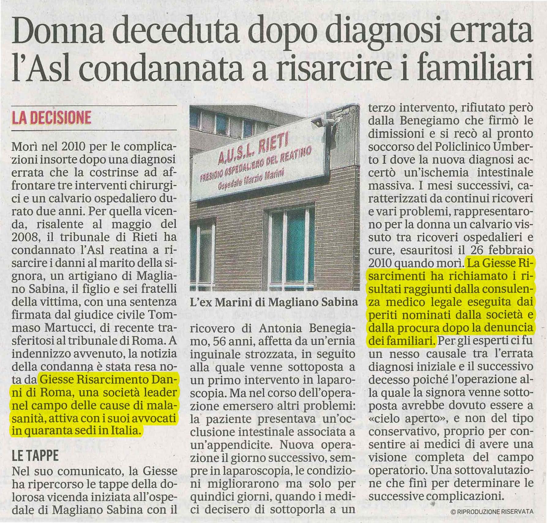 Errore medico Rieti Giesse Risarcimento Danni