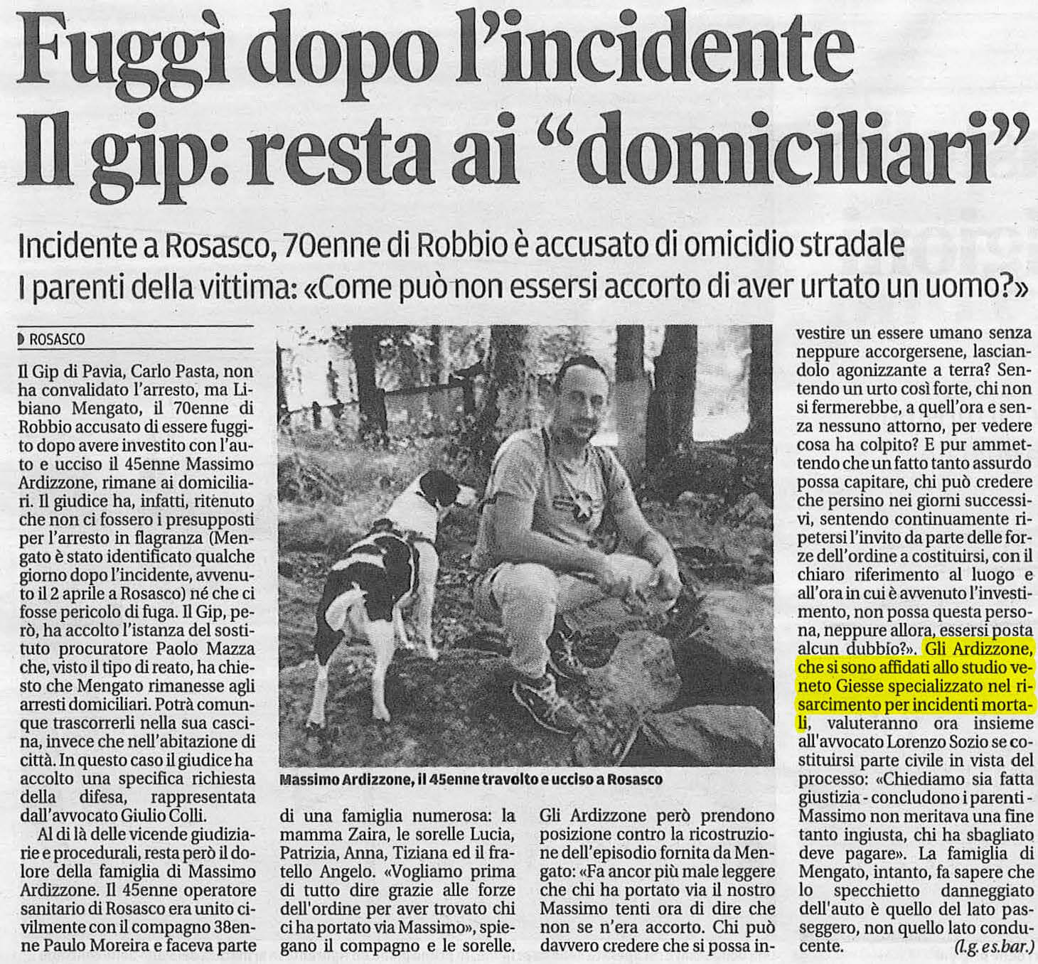 Quotidiano Incidente stradale Rosasco Pavia Giesse Risarcimento Danni