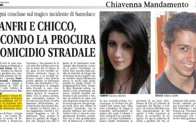 Incidente Mortale Sondrio Risarcimento Danni