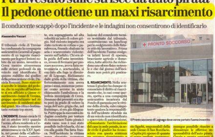 Pedone investito da auto pirata a Verona: maxi risarcimento danni