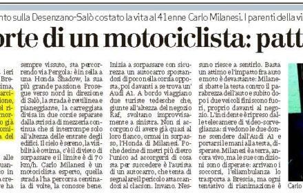 Risarcimento incidente moto Brescia: schianto mortale