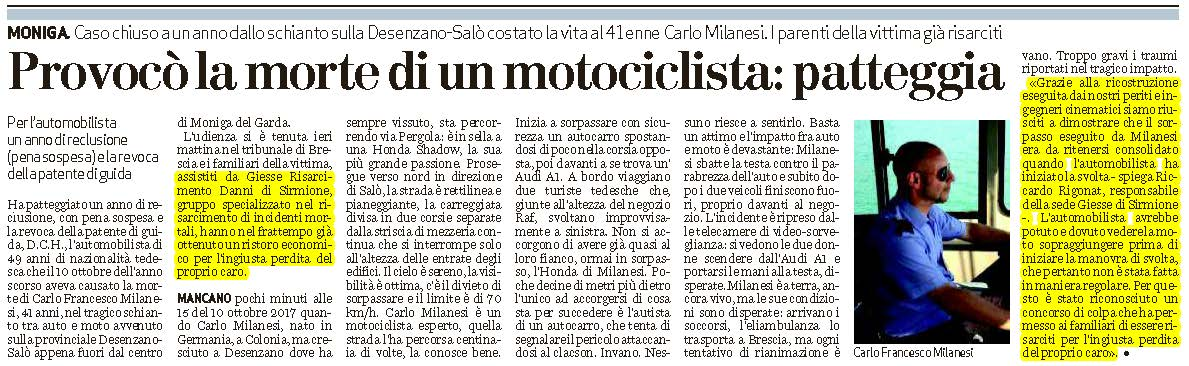 Risarcimento incidente moto: schianto mortale
