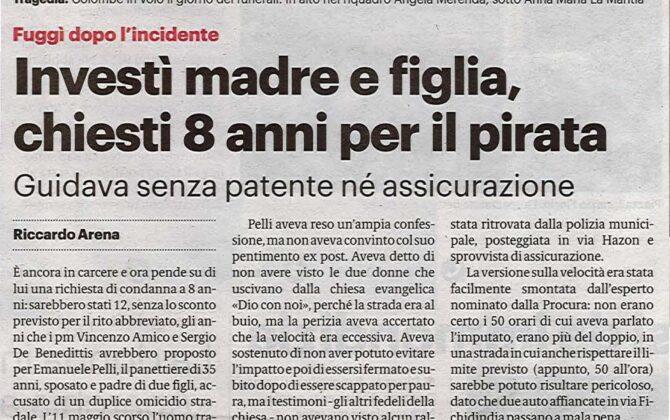 Incidente mortale madre e figlia Brancaccio Palermo