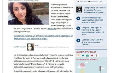 Errore medico Latina, ragazza morta dopo l'intervento al naso