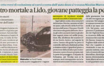 Ubriaco alla guida: schianto mortale auto Catanzaro Lido