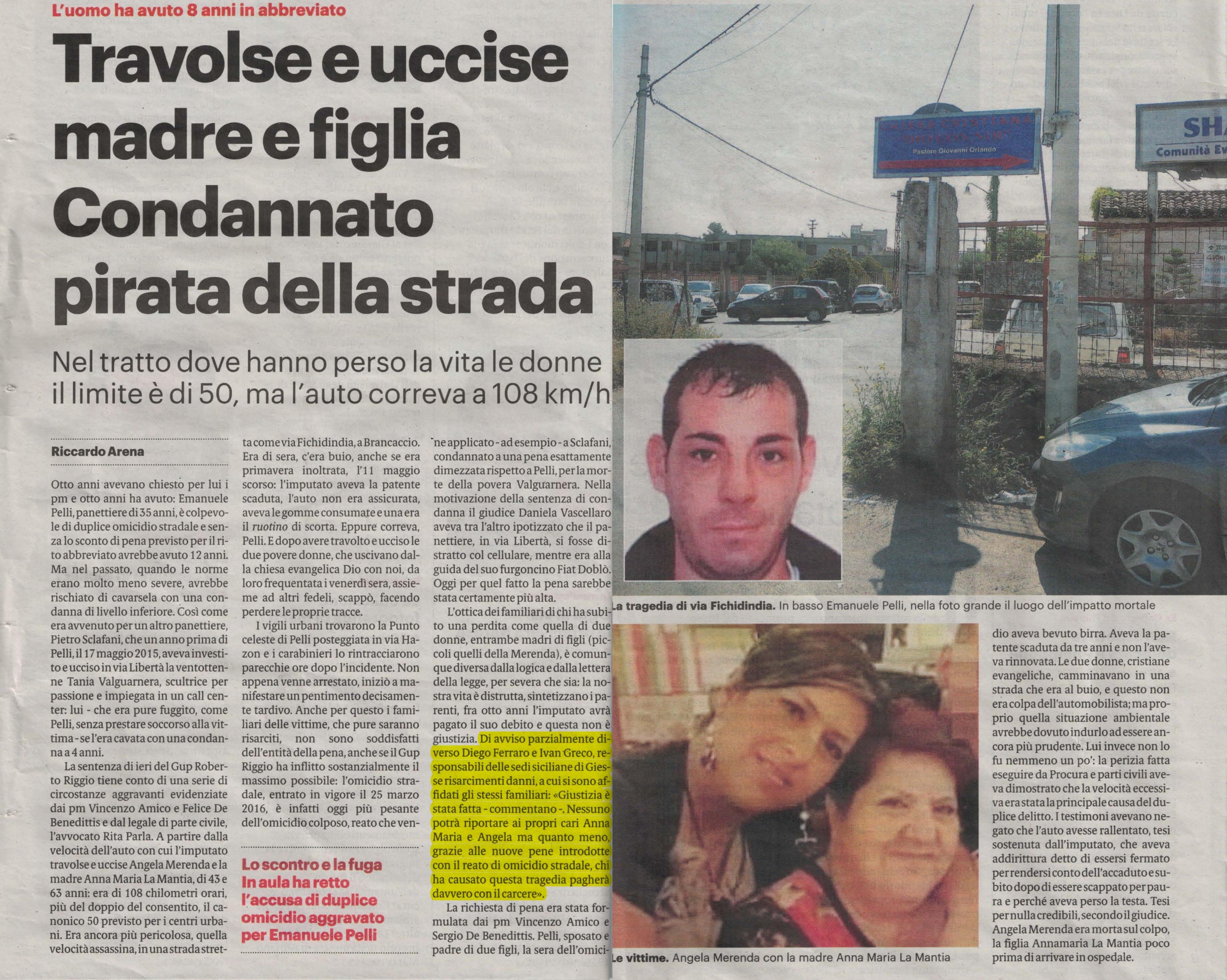 Incidente auto Palermo morte mamma e figlia