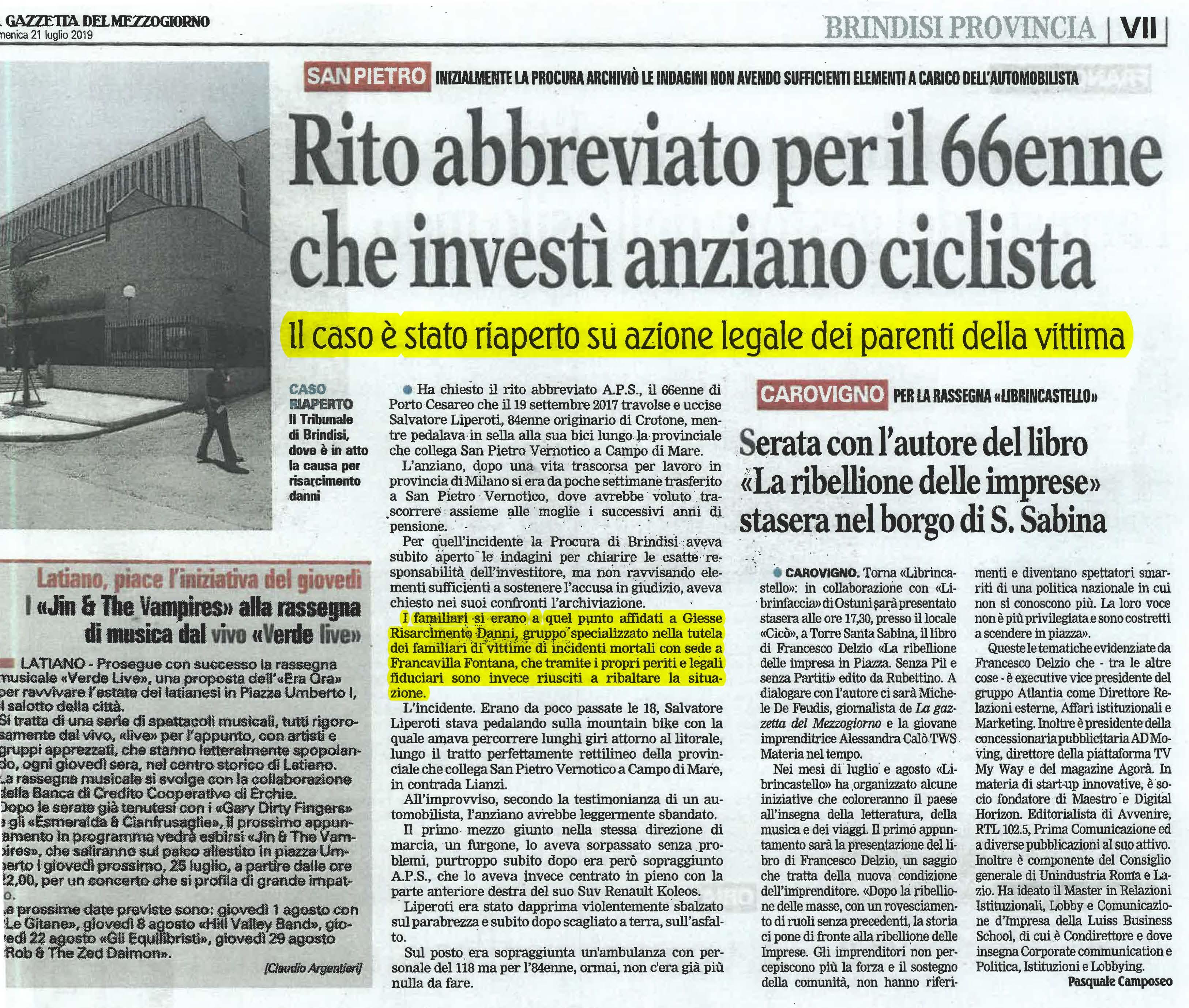 Incidente mortale ciclista Brindisi risarcimento danni