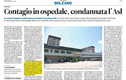 Infezione ospedale Asl Bolzano condannata