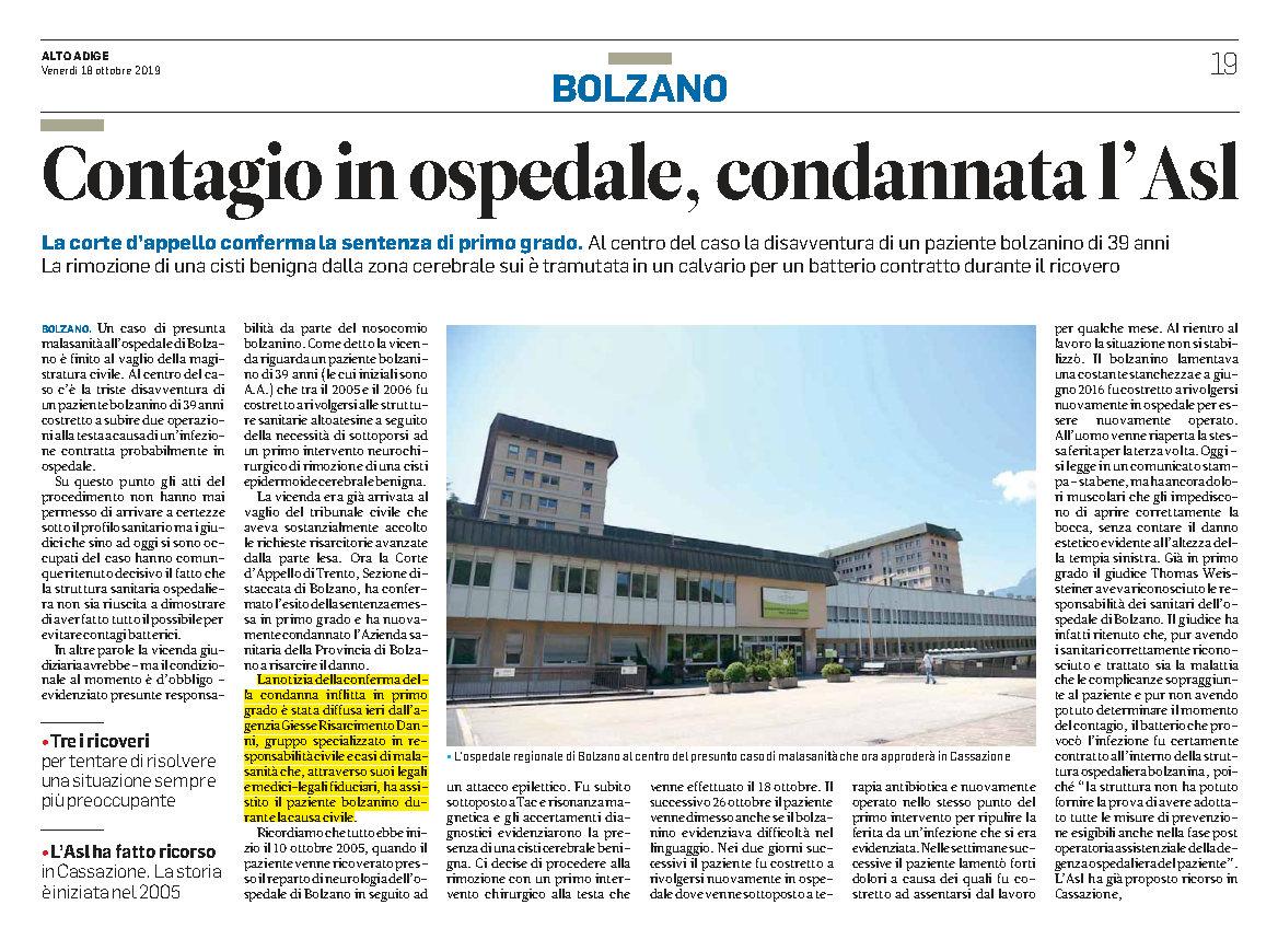 Bolzano contagio in ospedale Asl condannata