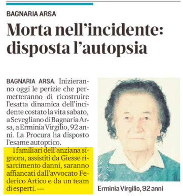 Incidente stradale Udine morta anziana signora