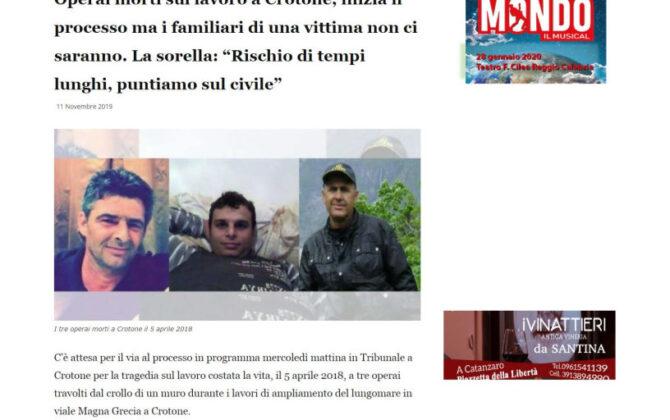 Risarcimento incidente mortale sul lavoro Crotone