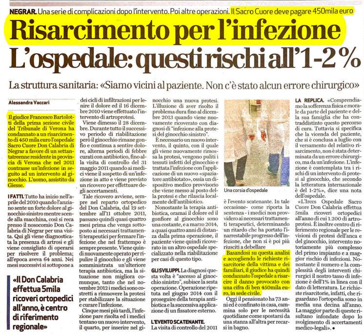 Maxi risarcimento operazione ginocchio Verona