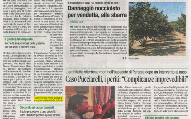 Pedone investito Viterbo: risarcimento per i familiari