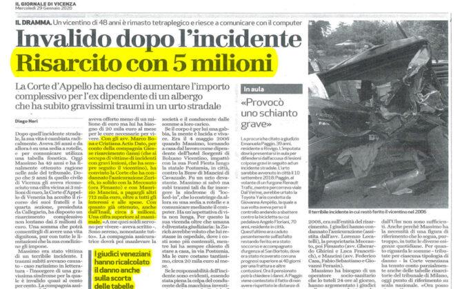 Maxi risarcimento danni incidente stradale Vicenza
