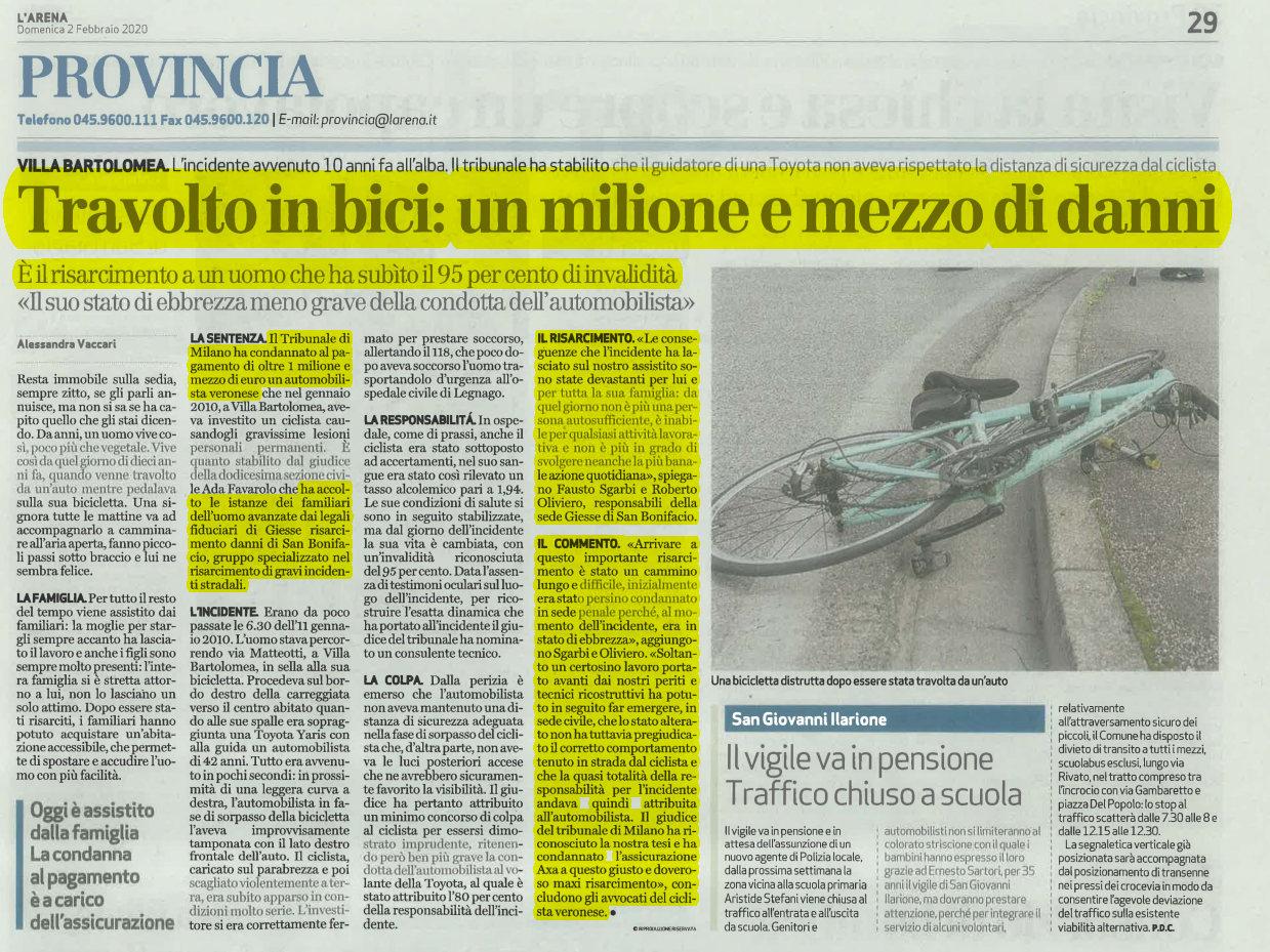 Maxi risarcimento incidente mortale bicicletta Verona
