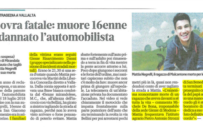 Incidente mortale scooter Mantova