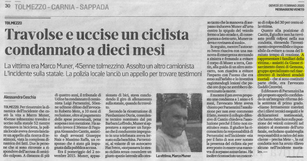 Incidente stradale Tolmezzo ucciso ciclista