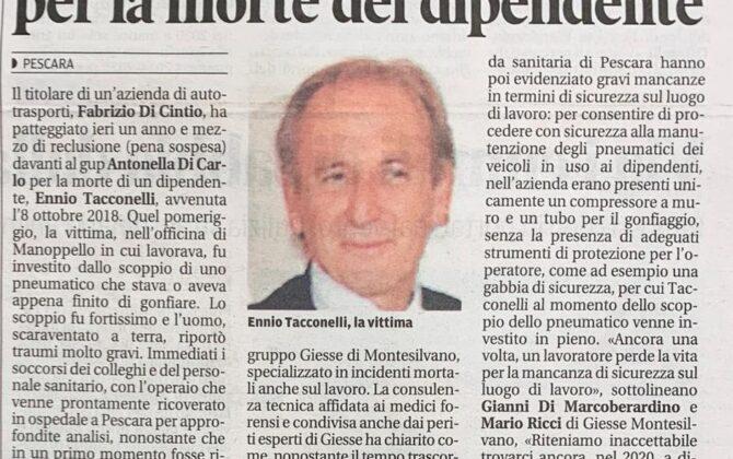 Incidente sul lavoro Pescara, risarcimento danni
