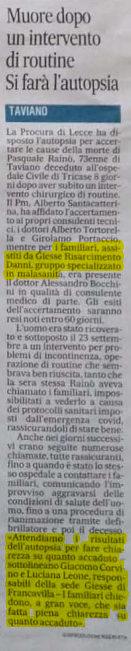 Risarcimento errore medico operazione Lecce