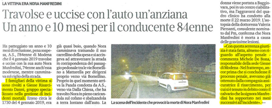 Incidente mortale anziana Modena