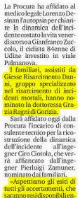 Incidente mortale ciclista Udine risarcimento danni