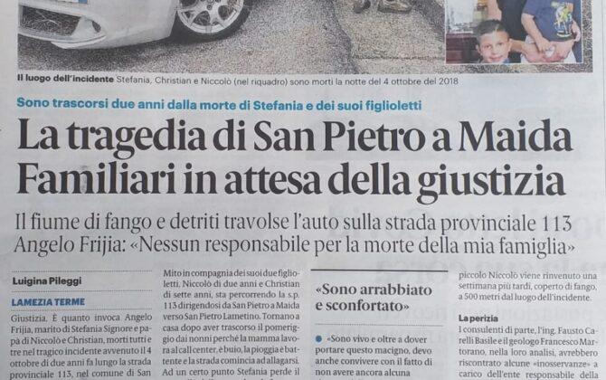 Risarcimento incidente mortale alluvione Catanzaro