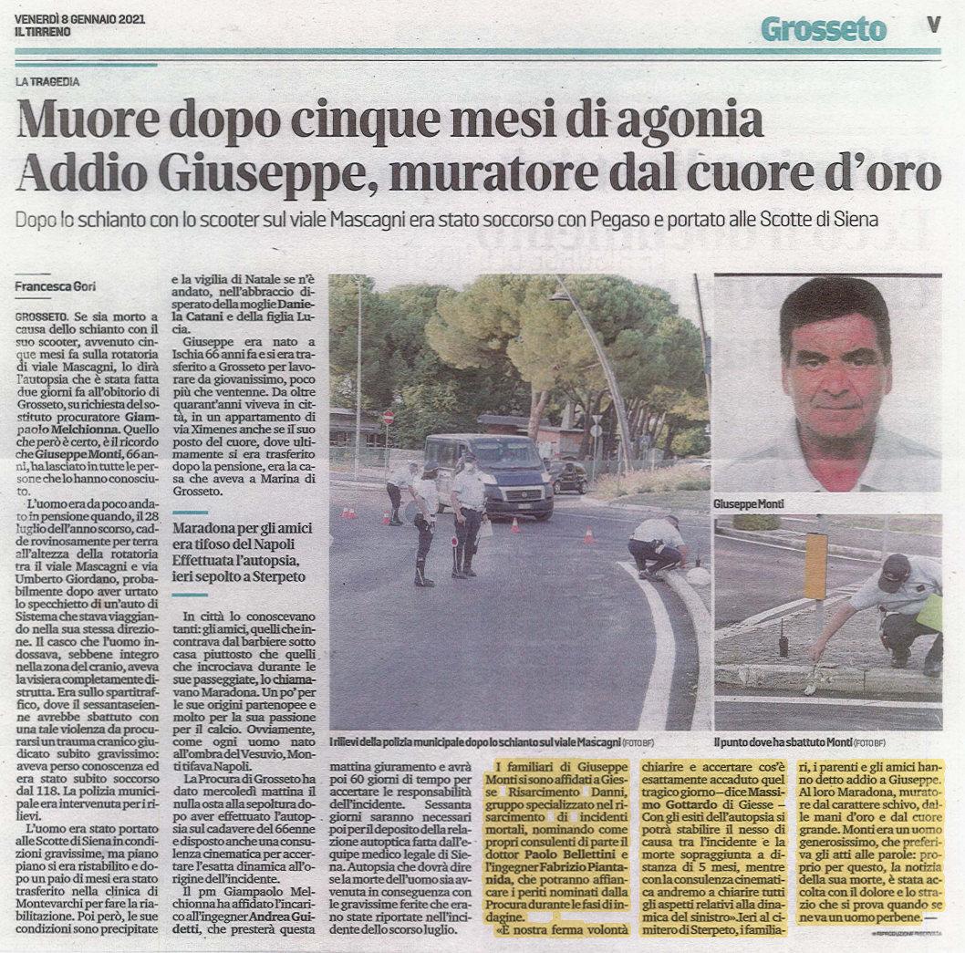 Incidente moto Grosseto articolo Il Tirreno