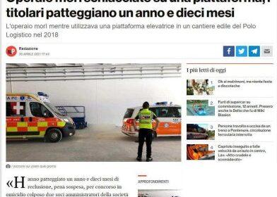 Infortunio mortale in un capannone della logistica di Piacenza: patteggiano 1 anno e 10 mesi