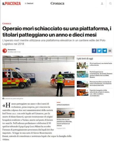 Operaio morto al capannone della logistica di Piacenza