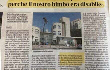 Errore medico ospedale Gaslini di Genova: neonato perde un braccio a causa della mancata sorveglianza durante un'infusione