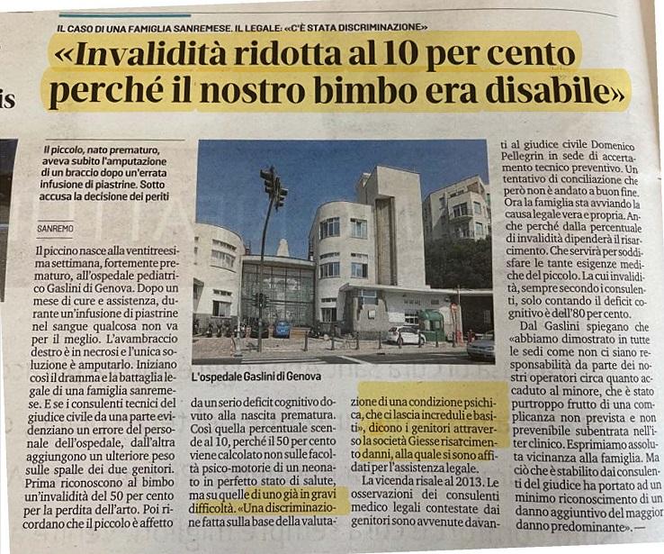 Errore medico ospedale Gaslini Genova braccio amputato a neonato