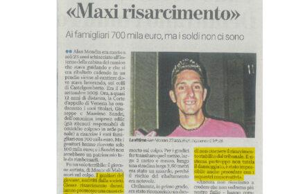 """Caso """"Alan Mondin"""": ai famigliari 700mila euro ma i soldi non ci sono"""
