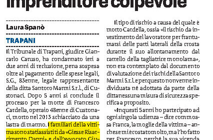 Morte di Francesco Cardella per un incidente sul lavoro a Custonaci