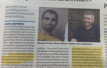 """I famigliari di Gaibara e Fantini: """"Tragedia ancora più difficile da accettare"""""""