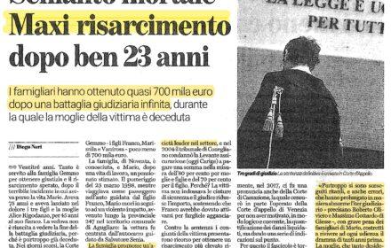 Schianto mortale ad Agugliaro: maxi risarcimento dopo 23 anni